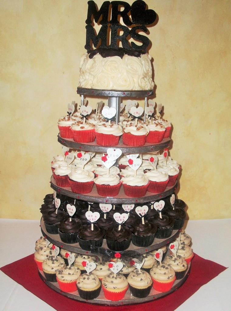 Red Black Gold Wedding Tower Cupcake Ave Com